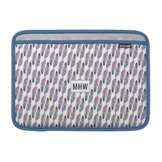 Feathers Pattern custom monogram Macbook sleeves