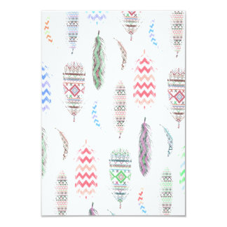 Feathers Pink Tribal Aztec Teal Chevron Pattern 9 Cm X 13 Cm Invitation Card