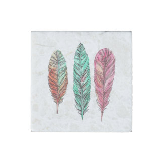 Feathers Stone Magnet