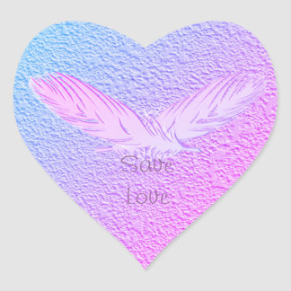 feathers. text. heart sticker