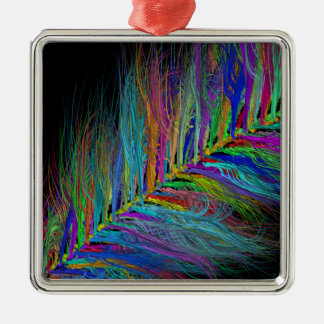 Feathery Rainbow Silver-Colored Square Decoration