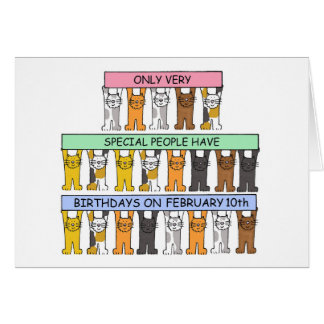 February 10th Birthday Cats Card
