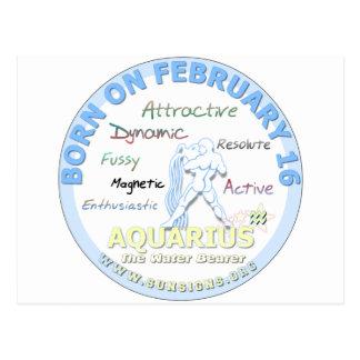 February 16th Birthday - Aquarius Postcard