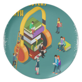 February is Library Lovers' Month Appreciation Day Plate