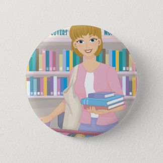 February - Library Lovers' Month 6 Cm Round Badge