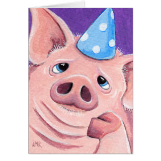 Fed Up Pig Wearing A Party Hat Illustration Card