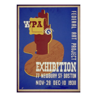 Federal Art Project Exhibition Boston 1938 WPA Poster