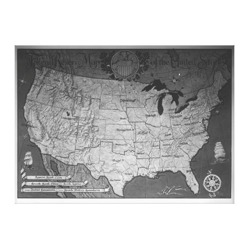 Federal Reserve Building Map Canvas Prints