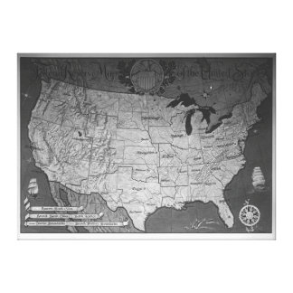 Federal Reserve Building Map Stretched Canvas Prints
