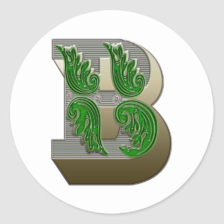 Federal Style Letter B Round Sticker