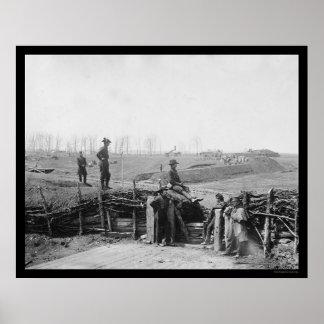 Federal Troops at Enemy Fort in Manassas, VA 1862 Poster