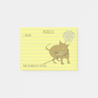 """Feed Angry Dog Funny Priorities Custom 4x3"""" Post-it Notes"""