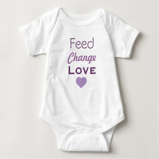 Feed Change Love Lavender Heart Baby Bodysuit