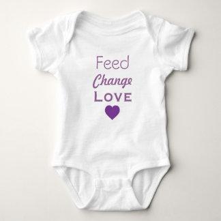 Feed Change Love Purple Heart Baby Bodysuit