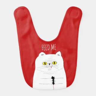 Feed Me Funny Cat with Mouse Baby Bib