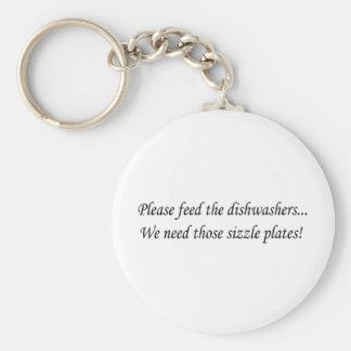 Feed the Dishwashers Basic Round Button Key Ring