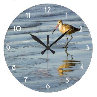 Feeding Sandpiper Large Clock