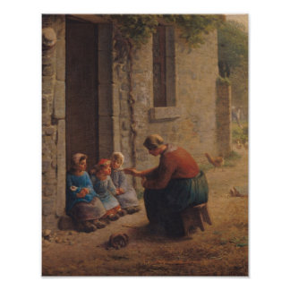 Feeding the Young, 1850 Poster