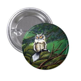 Feeding Time Owl 3 Cm Round Badge