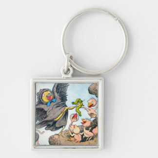Feeding Time Silver-Colored Square Key Ring
