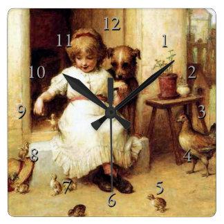 """Feeding Time"" Square Wall Clock"