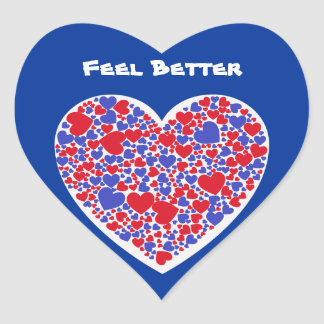 Feel Better, red and blue hearts on heart sticker