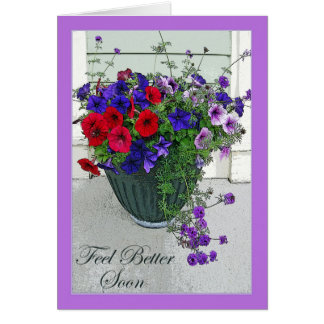 Feel Better Soon, Flower Arrangement, Petunias Greeting Card