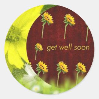 feel better soon get better soon get well round sticker