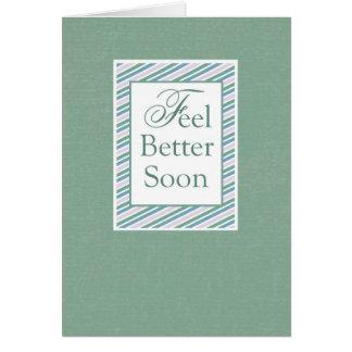 Feel Better Soon, Green Stripe Greeting Cards