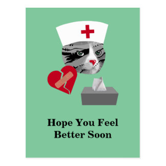 Feel Better Soon Nurse Cat Postcard
