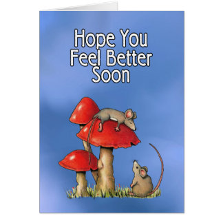 Feel Better Soon, Whimsical Art, Mice, Toadstools Greeting Card