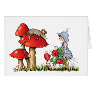 Feel Better Soon, Whimsical Art, Mouse, Poppies Greeting Card