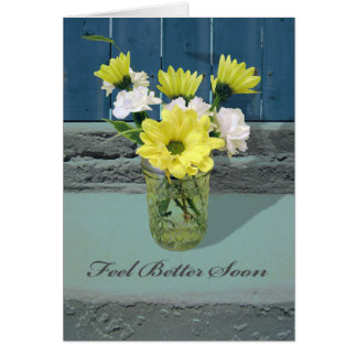 Feel Better Soon, Yellow and White Daisies in Jar Greeting Card