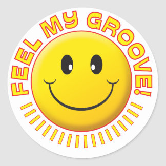 Feel Groove Smiley Round Stickers