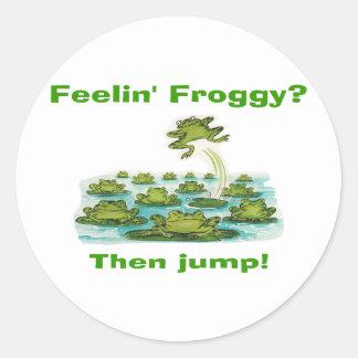 feelin froggy classic round sticker
