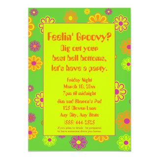 Feelin' Groovy Flower Power Party Invitation