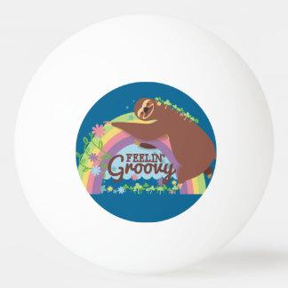 Feelin groovy funny sloth retro hippie rainbow ping pong ball