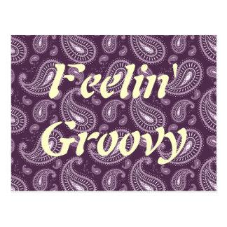 Feelin' Groovy Purple Paisley Postcard