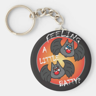 Feeling a Little Batty   Halloween Basic Round Button Key Ring
