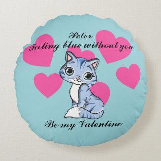 Feeling Blue Without You Valentine Personalised Round Cushion