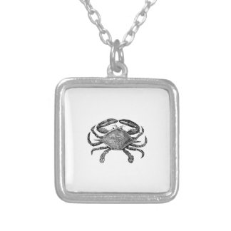 Feeling Crabby Black Silver Plated Necklace