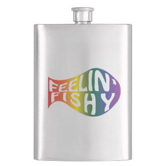 Feeling Fishy Rainbow Logo Hip Flask