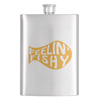 Feeling Fishy Yellow Logo Hip Flask