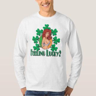 Feeling Lucky Irish GirlIrish Girl with Shamrocks, T-Shirt
