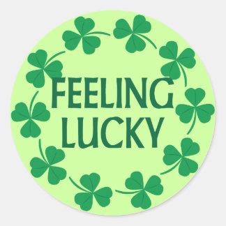 Feeling Lucky Shamrocks Classic Round Sticker
