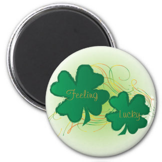 Feeling Lucky St. Patrick Clovers 6 Cm Round Magnet