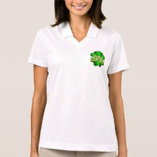 Feeling Lucky Women's white collar T-shirt