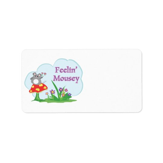feeling mousey adorable mouse in garden address label