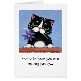 Feeling Pawly Cat with Flower Greeting Card