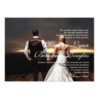 feelings love in sunset.couple /Wedding Invitation